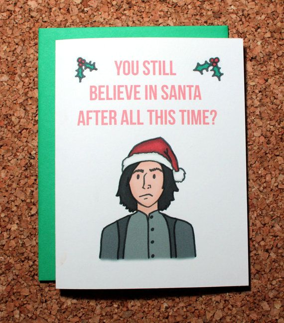 Harry Potter Card  Snape always Christmas Santa by ReneeRules