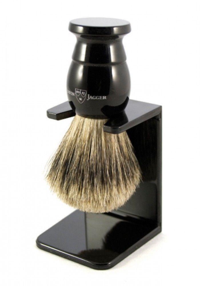 Shaving Brushes and Mugs: Edwin Jagger Medium Badger Shaving Brush Ebony + Drip Stand + Tweezer BUY IT NOW ONLY: $43.99