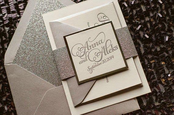 8 Glitter Glam & Rustic Wedding Invitations