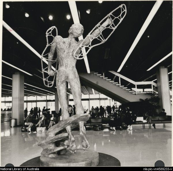 Edwards, Don. The sculpture Icarus by South Australian sculptor John Dowie in the departure lounge at Melbourne airport 1971, (1) [picture].