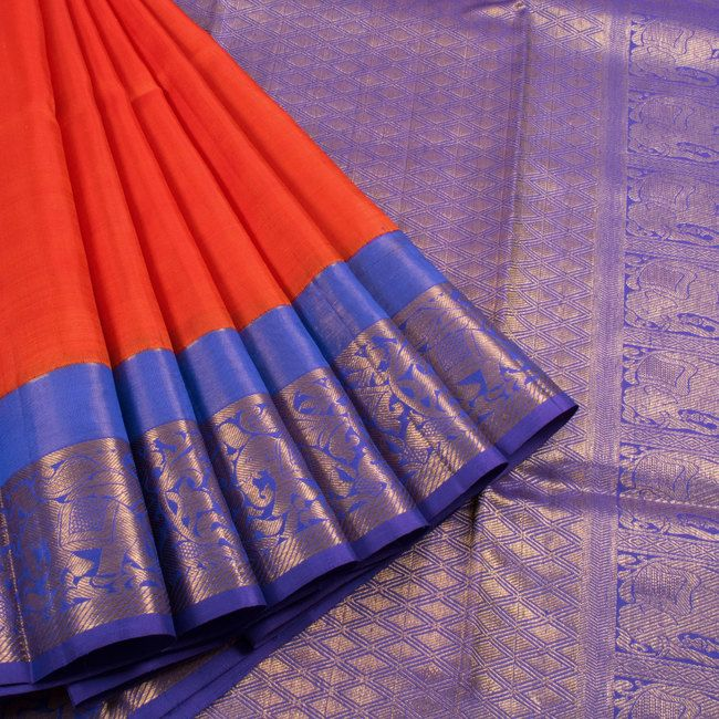 Sailesh Singhania Cinnabar Orange Handwoven Korvai Kanchipuram Silk Saree 10005661 - profile - AVISHYA.COM