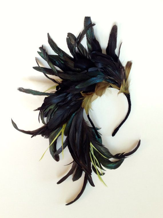 Midnight Flight Fascinator Feather Headpiece by katieburley $252