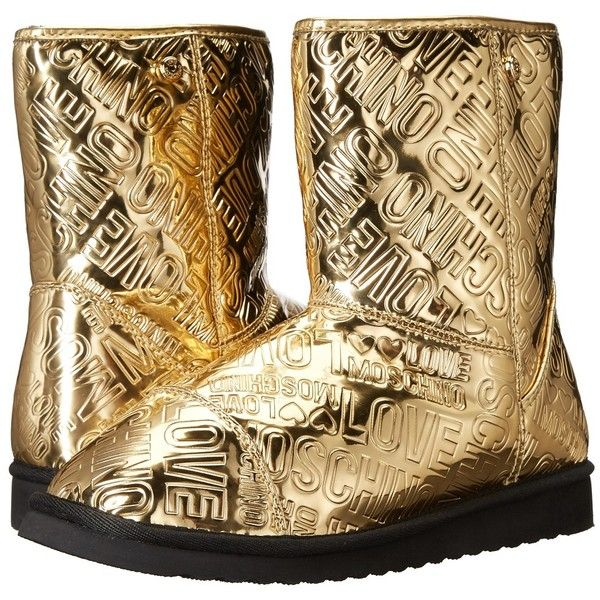 LOVE Moschino Ankle Boots (Gold) Women's Boots ($136) ❤ liked on Polyvore featuring shoes, boots, ankle booties, mid-calf boots, gold ankle boots, low-heel boots, pull on boots, gold booties and slip on boots