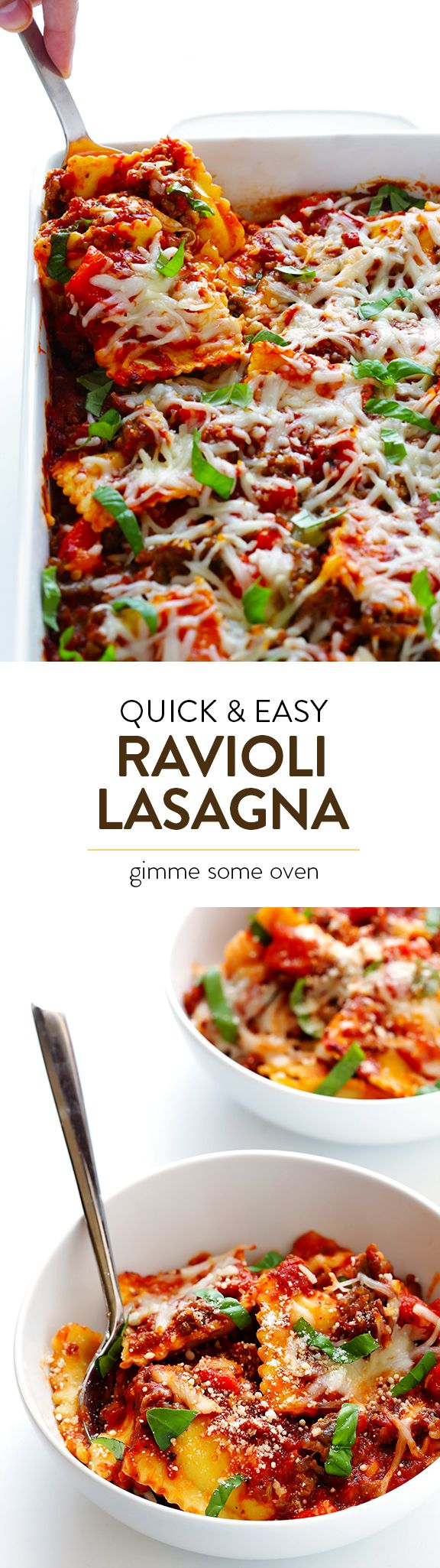 This ravioli lasagna recipe is super easy to make, and it's always a crowd-pleaser! | gimmesomeoven.com