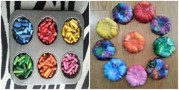 Eski pastel boyalar, metal muffin kalıbı