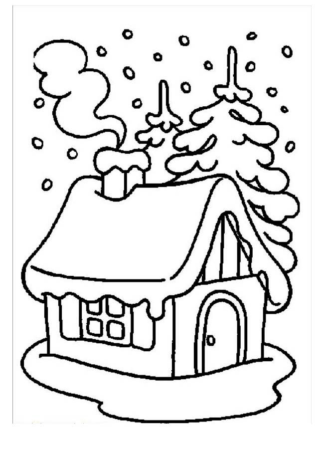 House Covered By Snow During Winter Coloring Page : Kids Play