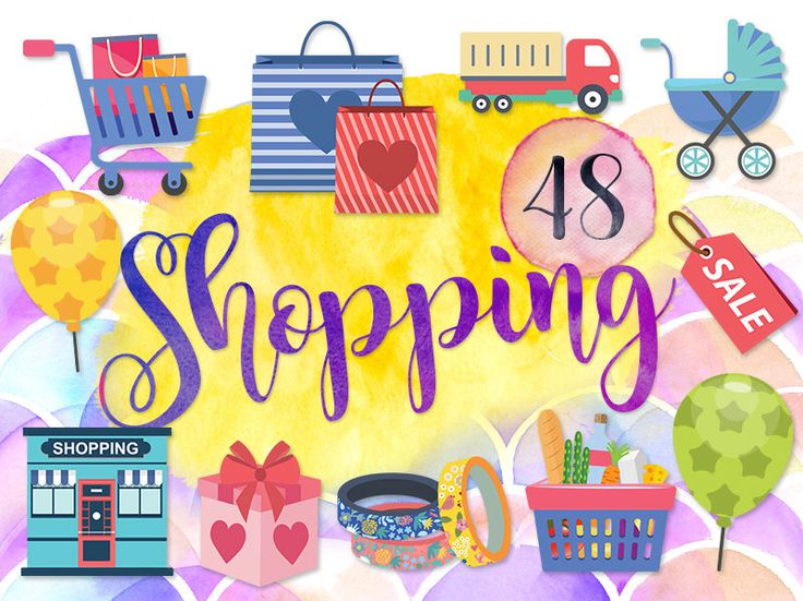 """48 Cute Shopping Clipart: """"GROCERY CLIPARTS"""" Shopping Bag, Cart, Lorry, Baby Stroller, Grocery Shopping Sale, Birthday, Ballon, Washi Tape by GraphicVilla on Etsy https://www.etsy.com/uk/listing/474517749/48-cute-shopping-clipart-grocery"""