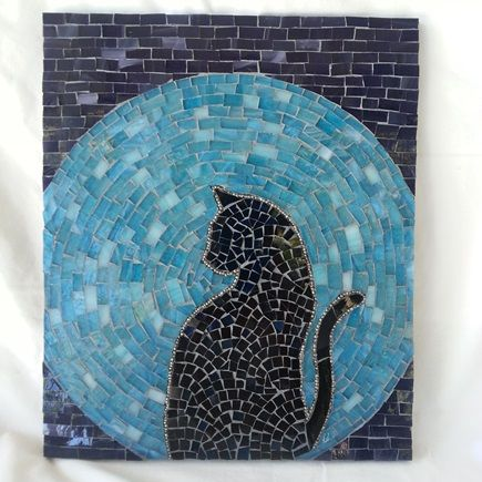 cat moon rising stained glass mosaic house of the rising cat - Mosaic Design Ideas