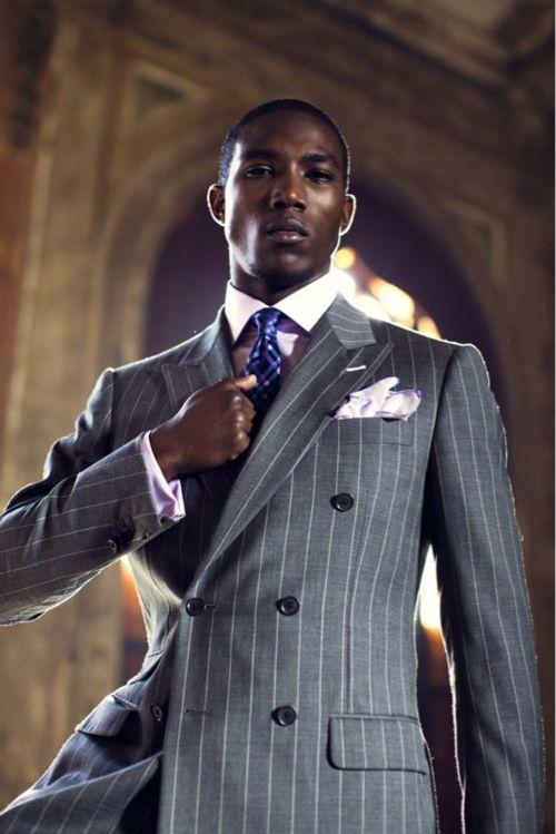 ♂ Masculien and elegance man's fashion wear grey Pinstripes!