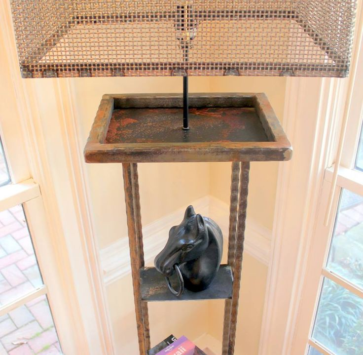 Wrought Iron Floor Lamp with Shelves, Vintage Style