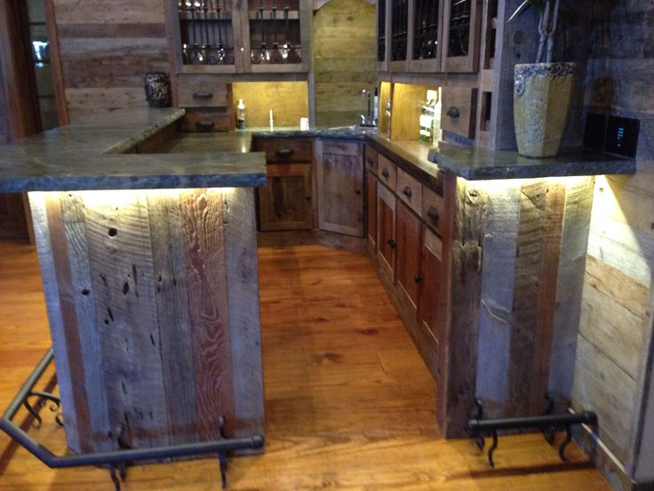 Custom reclaimed wood bar, Stone, wrought iron & lighting. Vintage barn  siding wood - 25+ Best Ideas About Reclaimed Wood Bars On Pinterest Man Cave