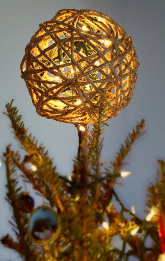 Christbaumspitze selber basteln jute garn ball lichterkette