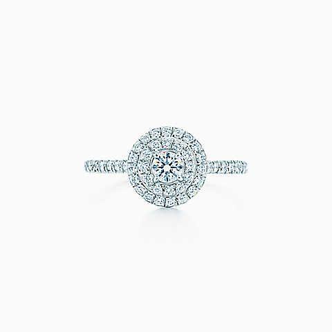 Bague Soleste Tiffany en platine et diamants.