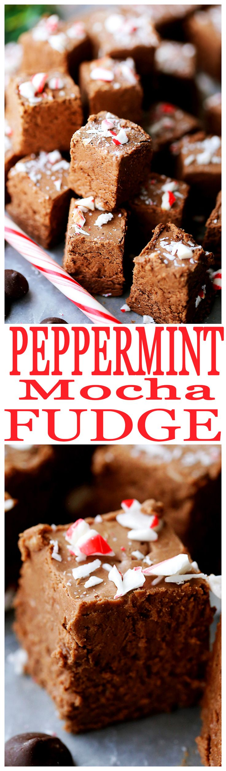 Peppermint Mocha Fudge Recipe - Chocolaty, chewy, sweet and minty Fudge perfect for the Holiday Season, and an ideal treat for gifting!