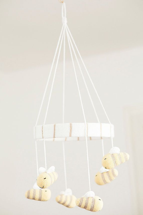 Bee baby mobile. Crocheted bees mobile. Custom made baby mobile. Light yellow, white and cream.