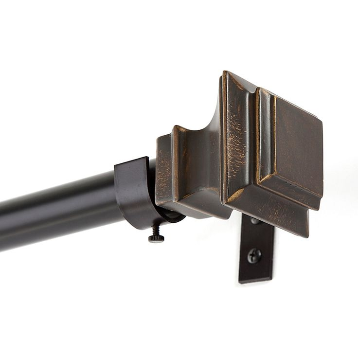 Kenney Lincoln 90 To 130 Adjustable Curtain Rod In Oil Rubbed Bronze Curtain Rods Oil Rubbed Bronze Curtain Rod Hardware