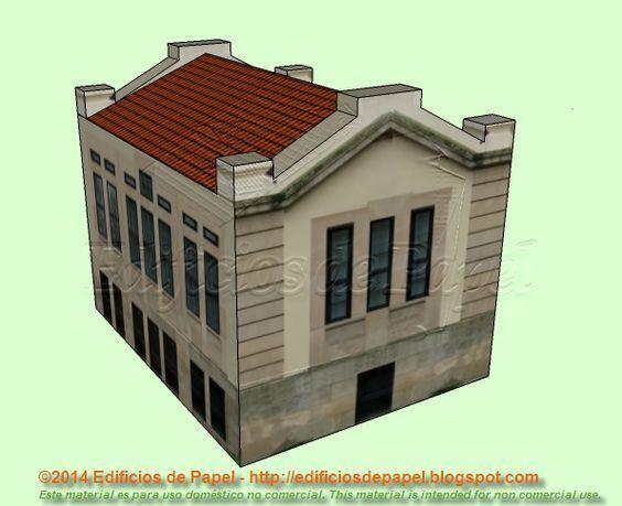 Maqueta de papel de un edificio del Campus Universitario de Ourense Comparte con la maqueta de papel anterior la misma división en cuanto a los elementos constructivos. Al igual que su elegancia y su idoneidad para formar parte de escenografías de trenes o juegos que reproduzcan entornos urbanos.