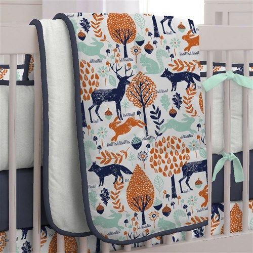 Navy and Orange Woodland Crib Bedding by Carousel Designs.