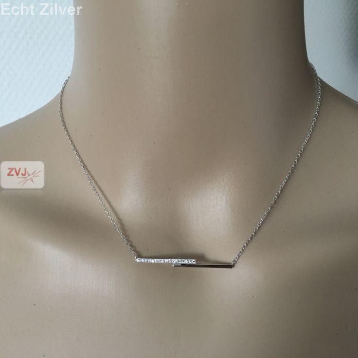 Zilveren strakke bar ketting met zirkonia lijn zetting €22.95 - ZilverVoorJou Echt 925 zilveren sieraden