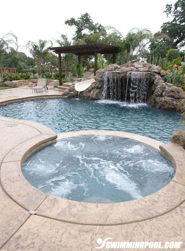 Pool With Rock Waterfall And Slide #landscapingwithrocks