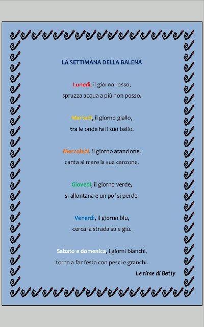 Giorni della settimana per balene degli oceani sconfinati, per quelle degli abissi profondi :) ... e per bambini della scuola dell'infanzia