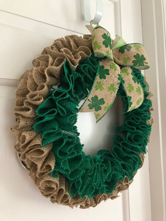Christmas On Green Street 2020 Burlap Ruffle Wreath, Shamrock Wreath, Green wreath, St Pat's