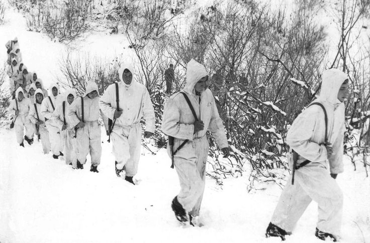 Soldiers of the Albanian People's Army on training during winter.