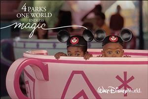 Experience special magic in all 4 Walt Disney World theme parks on 4 separate days with the 4-Park Magic Ticket for only $279 per adult and $259 per child, plus tax. Ticket may not be used to enter the same park more than once.   Purchase from November 15, 2016 through March 5, 2017. Tickets are not valid for admission on any of the following blockout dates: December 17, 2016 through January 2, 2017 and April 10 through April 21, 2017.