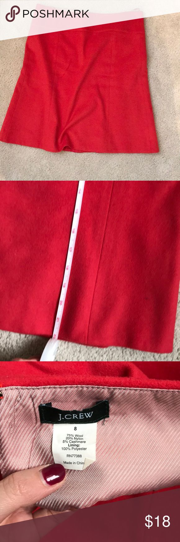 J. Crew wool skirt sz 8 J. Crew. Gorgeous coral/red wool skirt. Sz 8 slight flair. Great condition, however the zipper in broken. Smoke free home. Great color for spring. J. Crew Skirts
