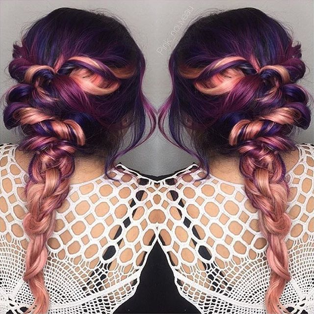 Sooo pretty ... Purple and rose gold melt  #regram @pink_nouveau #americansalon