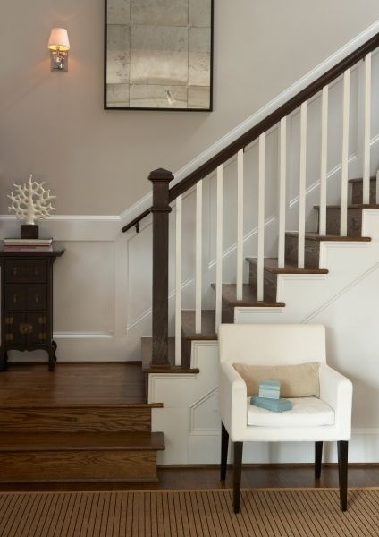 Transitional home with open stairwell. Unfussy and elegant design mixes modern furniture pieces with classic fixtures and vintage findings.