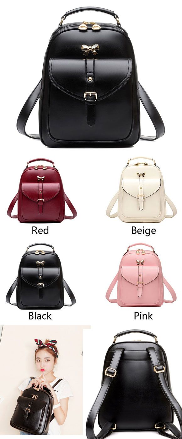 Black is a better color I think. Sweet Lady Bow Buckle Student Bag Simple PU School Backpack #backpack #pu #school #student #bow #sweet #cute