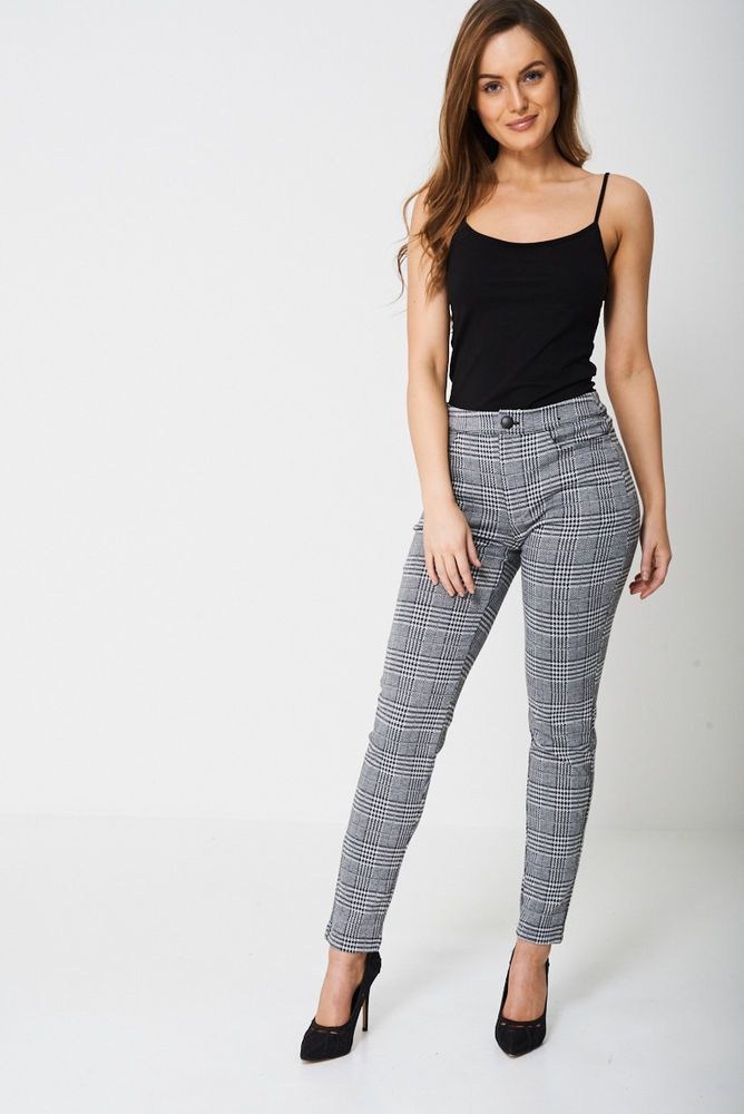 b584b1f1bd04 Brand new Ladies Women Skinny Trousers In Prince Of Wales Check Ex-Branded  sizes #