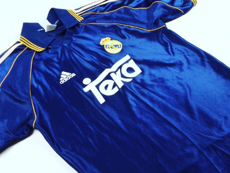 Superb 1998-1999 #realmadrid third #shirt.  Worn on they way to the 2000 Champions League final victory over #Valencia. #football #vintage #classicfootballshirts #classicfootball   For sale at www.classicfootballjerseys.com