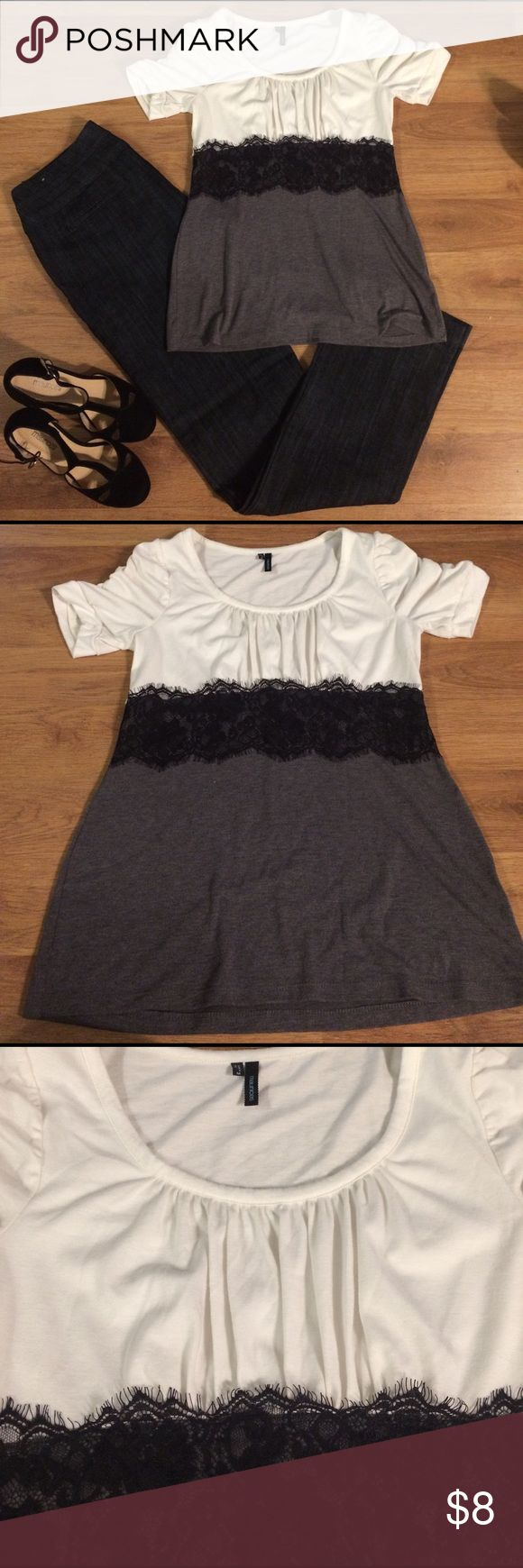 Colorblock Shirt with Black Lace Waist Detail White and grey colorblock shirt with a black lace band across the waist in the front. It's from Maurices and is a size medium. Maurices Tops