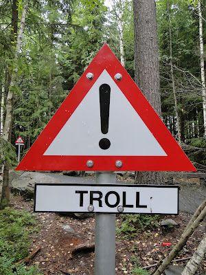 Troll Warning Sign at Hunderfossen Adventure Park in Norway
