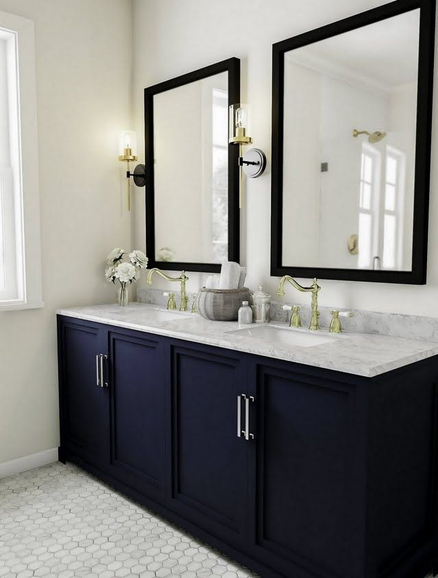 Traditional Bathroom with Dark Blue Vanity and Flush in 2018