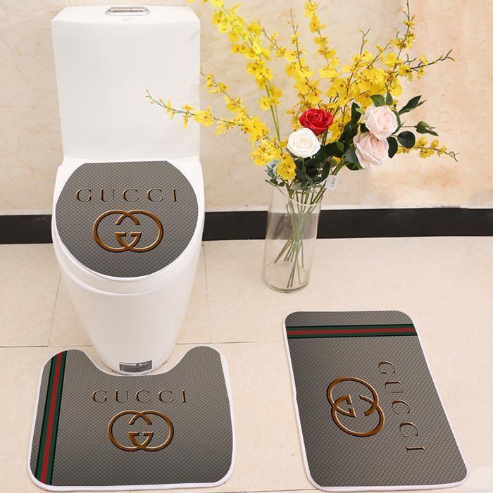 Gucci Logo Floor Carpet Toilet Rug Lid Cover 3 Piece Bath Mat Set Bath Mat Sets Toilet Rug Custom Shower Curtains
