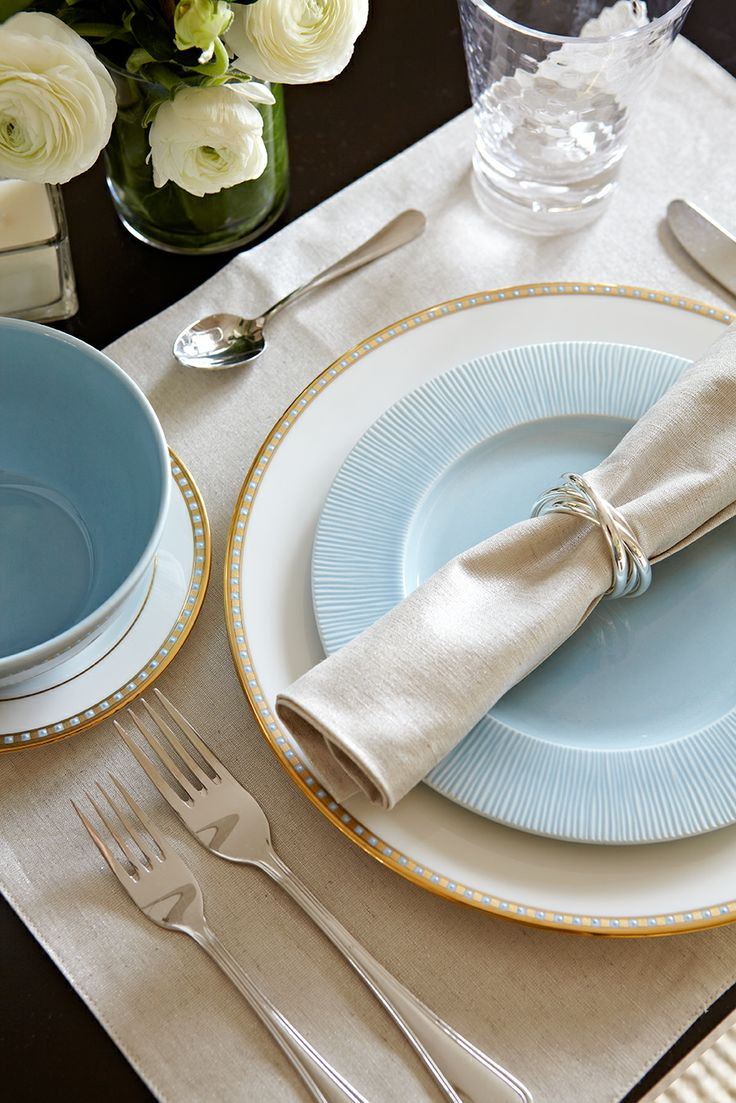 Bingham Avenue Dining Room.  Soft blue dishes and white china with gold and blue trim--Jennifer Simon Design
