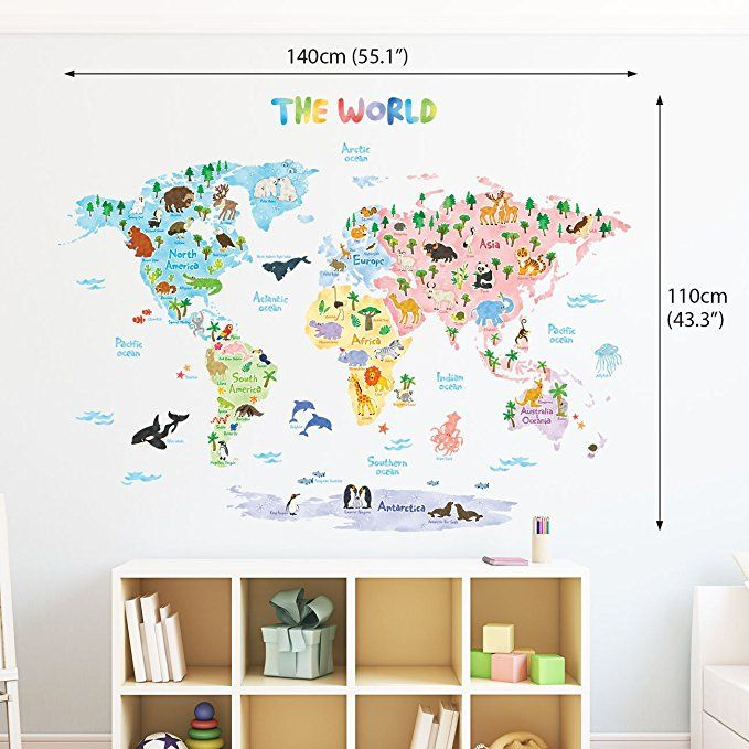 Amazon decowall dlt 1615 animal world map kids wall decals wall amazon decowall dlt 1615 animal world map kids wall decals wall stickers publicscrutiny Image collections