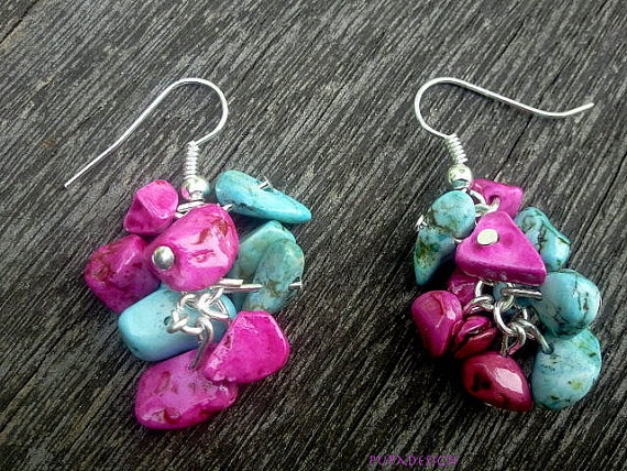 Stoned fragment earrings in different colors by PupaDesign on Etsy, $10.00