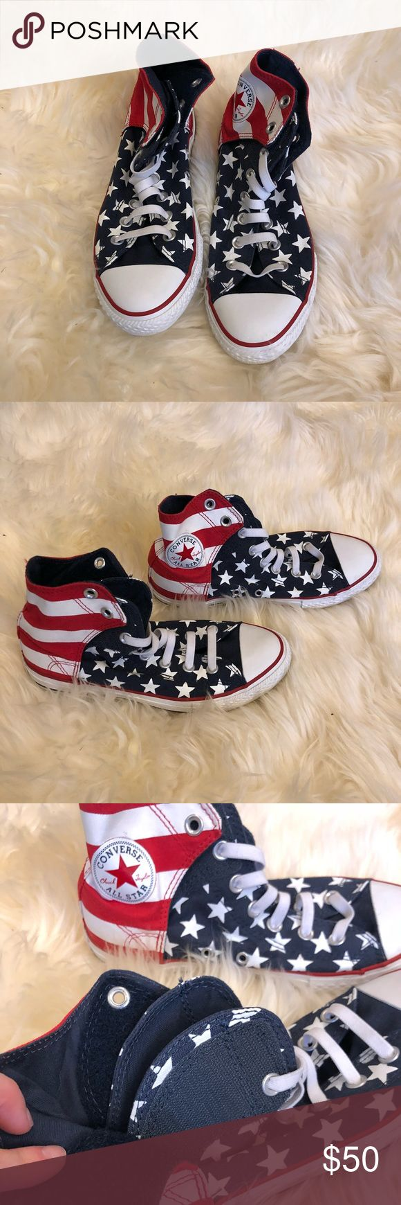 🇱🇷Converse American flag Velcro high top. Practically brand new, worn once. Flawless. Can fold Velcro high top down for shorter look. Size 4 in men's so size 6 in women's but fits like a 7. Converse Shoes Sneakers