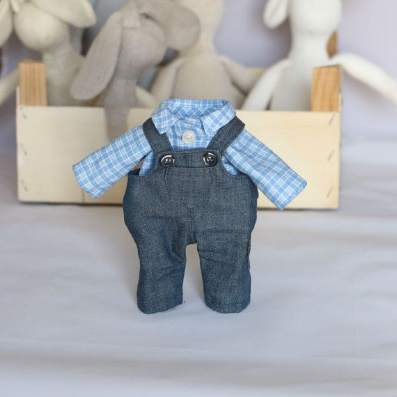 Doll Denim Jeans Overalls and blue white checked by RibizliDesign, $16.00