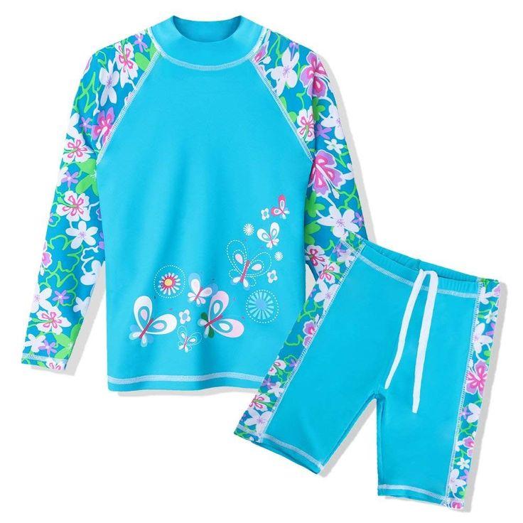 Girls Swimsuit UPF 50+ UV Two Piece Long Sleeve Swimwear Rash Guard Sets Kids 3-12 Years – Blue – CE1864HTN5L