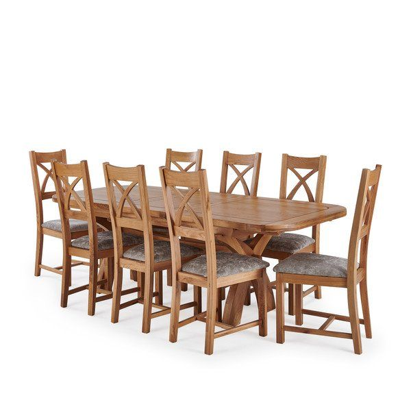 Natural Solid Oak Dining Sets 9ft 2 Extending Dining Table With