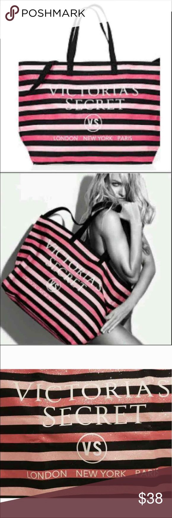 """VS Glitter Shimmer Signature Striped Weekender Bag New in package from an online order   Victoria's Secret Shimmer Signature Striped Weekender Tote   Beautiful Bag...Glitter & Sparkly  Pink & Black Striped  Measures approx 26""""L x 7""""W x 26""""H  Zip top closure   No trades Victoria's Secret Bags Totes"""