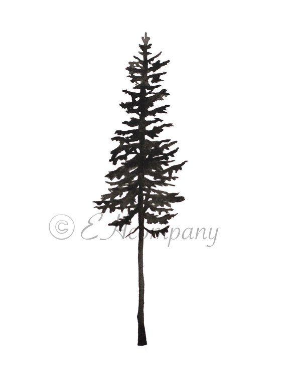 Skinny Pine Tree Silhouette, Downloadable and Printable ...