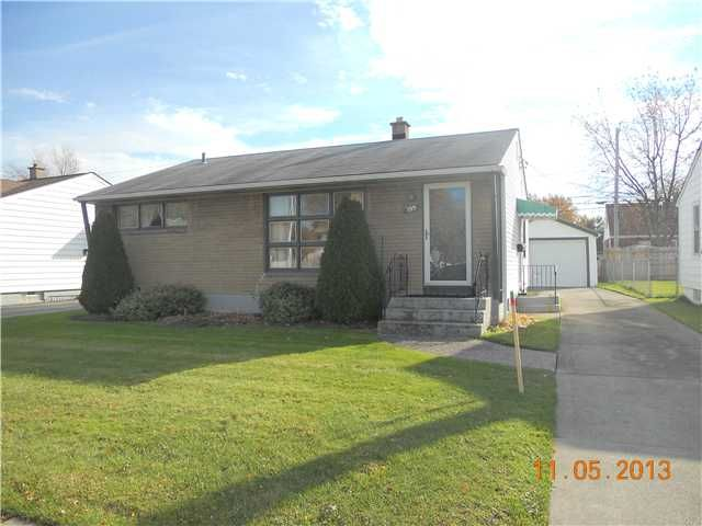 MJ Peterson Real Estate -- 195 Seton Rd. CHEEKTOWAGA, New York -- Super maintenance free, brick front RANCH with 1.5 car detached garage* 3 bedrooms, full tiled bath, eat-in oak kitchen with appliances; some new windows, large living room with picture window; hardwood floors throughout; full clean, dry basement with glass block windows, perfect for a rec room; central a/c; one floor plan for easy living; super convenient location; star tax exemption $840; Definite must see!!