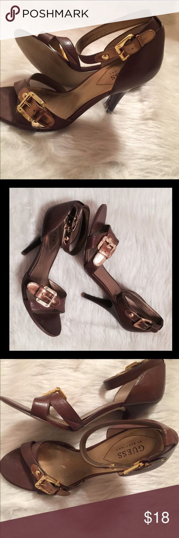 """✔️Guess Marciano Rosella Open-Toe High Brown Heels ✔️Only worn Once to a few hours wedding✔️Guess Rosella ✔️Gold Tone Hardware✔️Size 9M✔️Ankle Strap✔️Brown  ✔️Heel 4.5"""" Guess By Marciano Shoes Sandals"""
