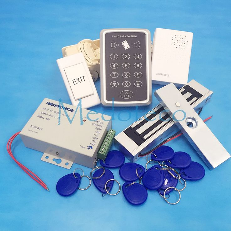 Mejor Sistema de Control de Acceso de la Puerta Rfid 125 Khz Tarjeta Rfid Completo Kit Sistema de Control de acceso + Cerradura Magnética Eléctrica y Potencia suministro